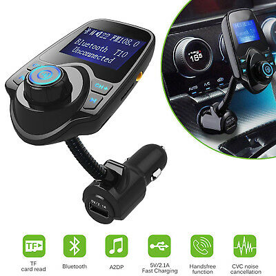 - Wireless Bluetooth Auto Handsfree Car AUX Audio Receiver FM Adapter USB Charger