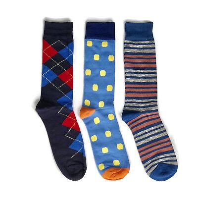 3 Pairs Men's Dress Socks Fancy Striped Argyle Dot Blue Colorful Wedding - Fancy Dress Pairs