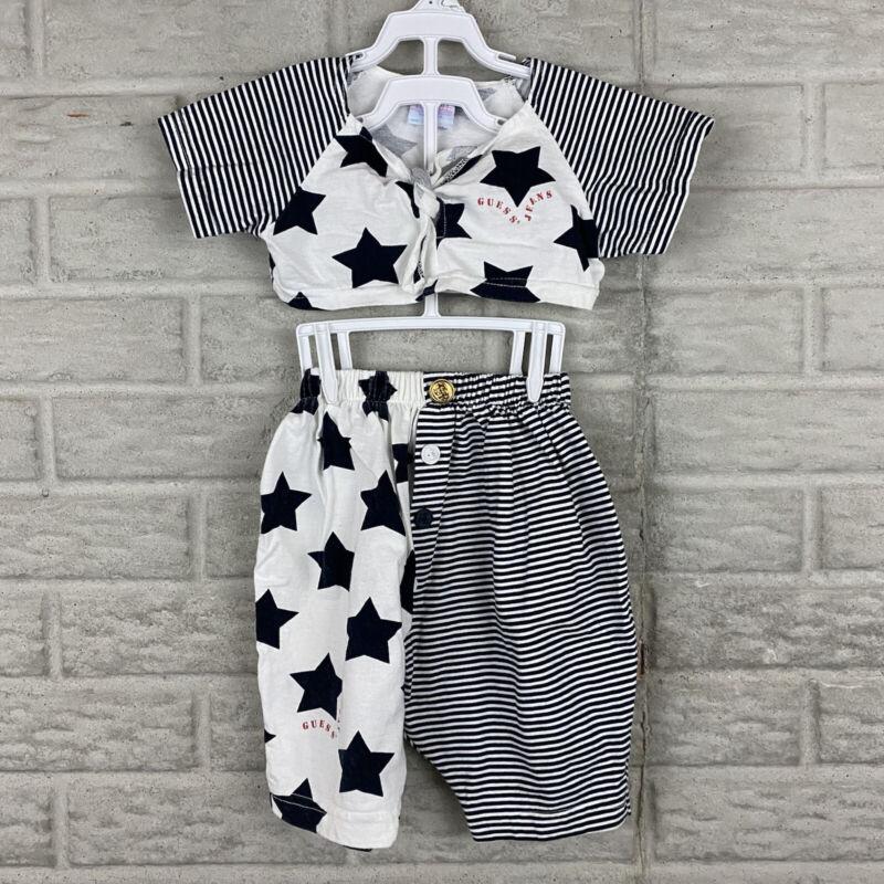 Vintage GUESS Baby 2 Piece Set 2Y Nautical Crop Top Harem Pants 80s Stars Sailor