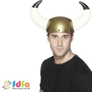 GOLD NORSE VIKING HELMET HAT WITH LARGE HORNS mens fancy dress costume