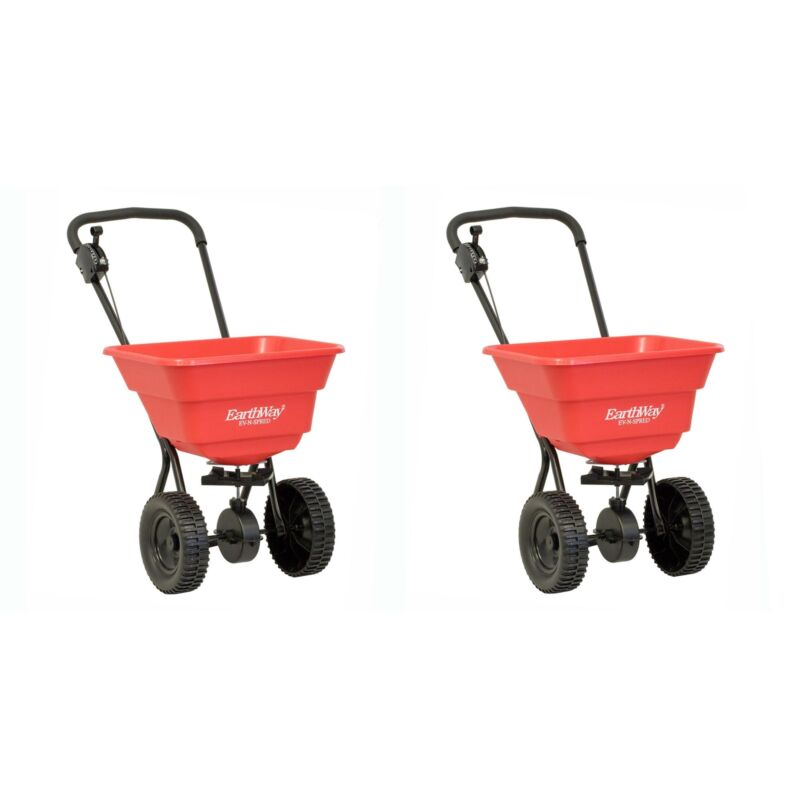 Earthway Plus Deluxe Estate Broadcast Seed and Lawn Fertilizer Spreader (2 Pack)