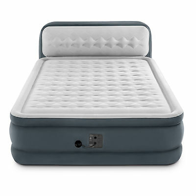 Intex 64447EP Ultra Plush Deluxe Air Mattress with Pump and Headboard, -