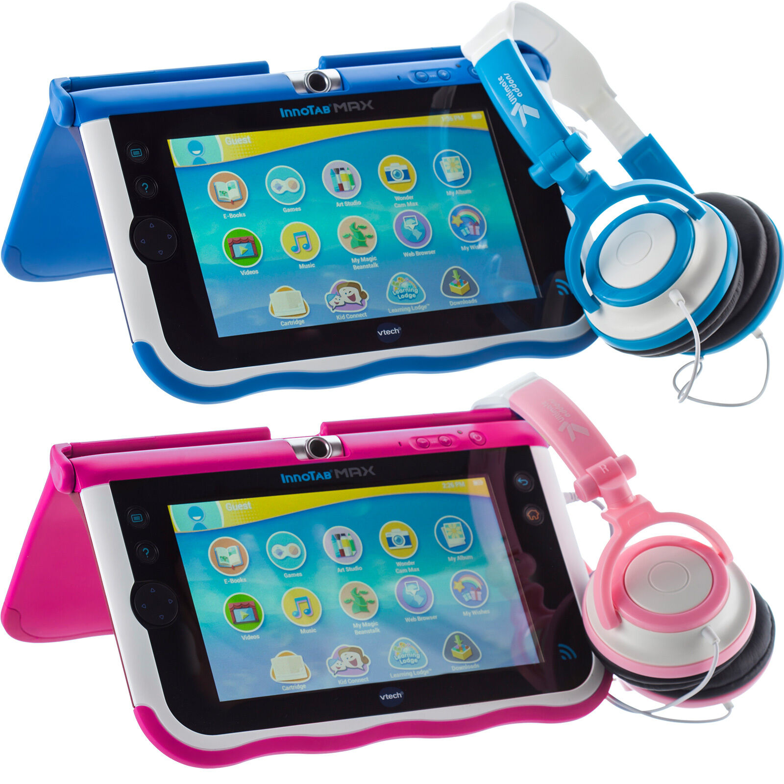 small childrens blue pink dj style kids folding headphones for vtech innotab max