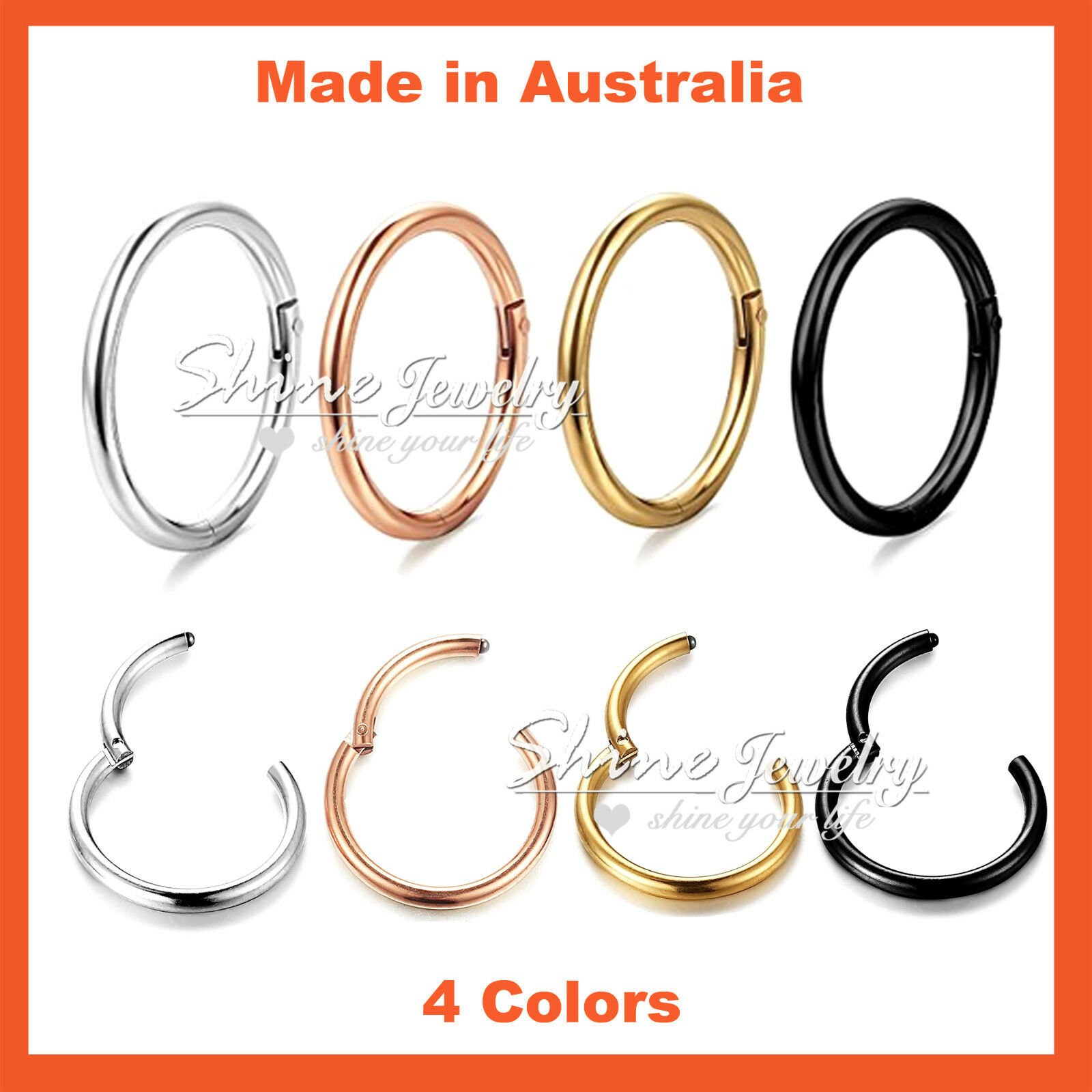 Jewellery - Titanium Ear Lip Nose Piercing Septum Seamless Segment Clicker Ring Hoop Sleeper