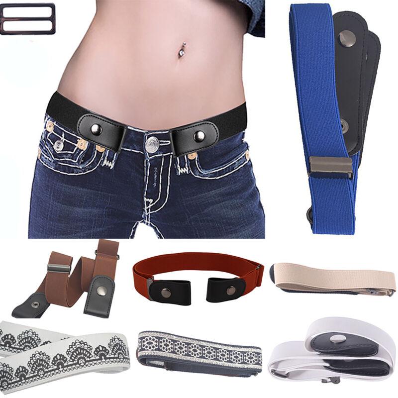 Damen Leder Gürtel Unsichtbar Elastisch Stretchgürtel ohne Gürtelschnalle Mode