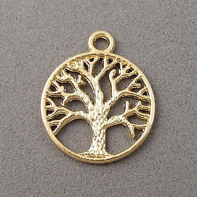 Gold Jewelry Making Supplies (14K Gold Plated Tree Large Pendant stability strength jewelry making)