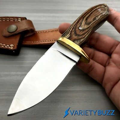 Skinning Knife Leather Sheath (Hunting Survival Skinning Fixed Blade Knife Full Tang + Leather Sheath WOOD)