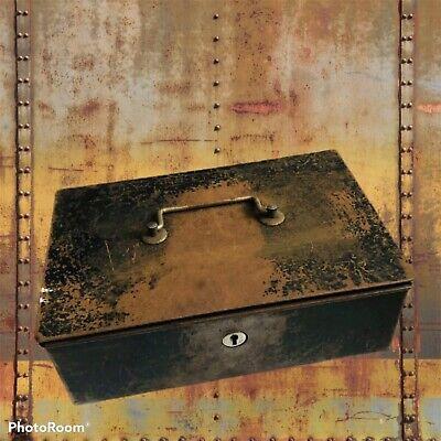 Lock Box Cash Box Strong Box Safe Vintage No Key with original ha'pennys