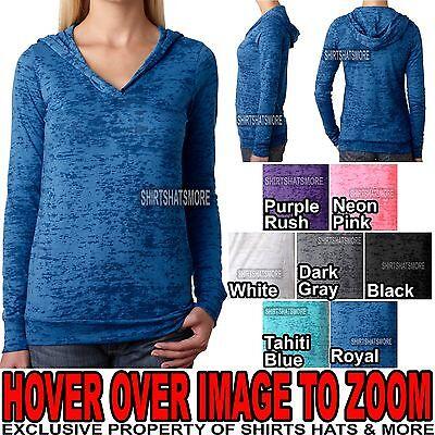 Burnout Hooded Tee (Ladies Junior Fit Burnout Hooded Hoodie T-Shirt Hoody Womens Tee S-XL,2XL)
