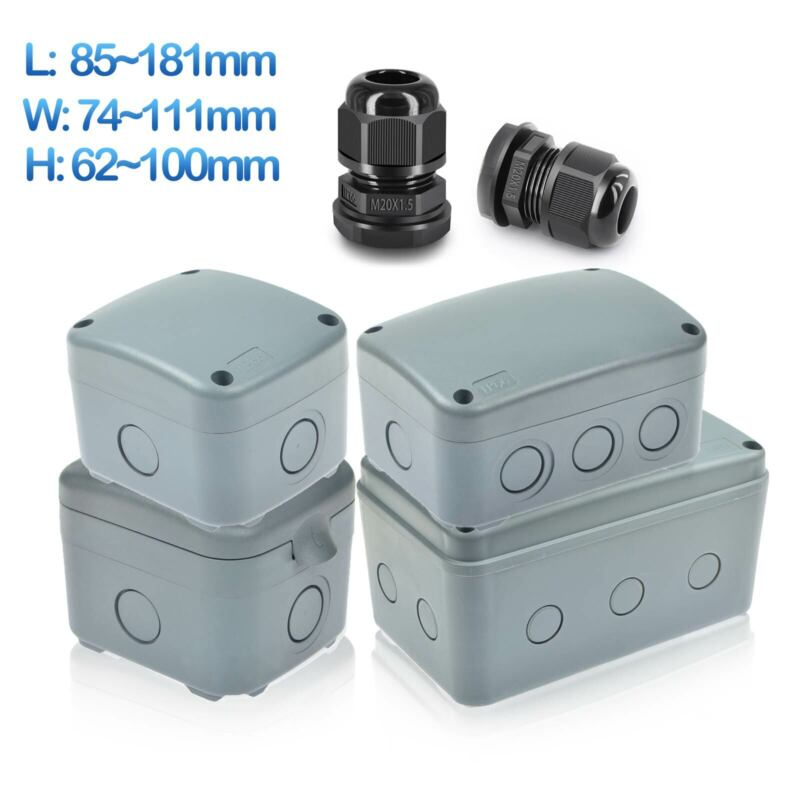Electrical Junction Box Waterproof Abs Plastic Outdoor Project Enclosure Case Us