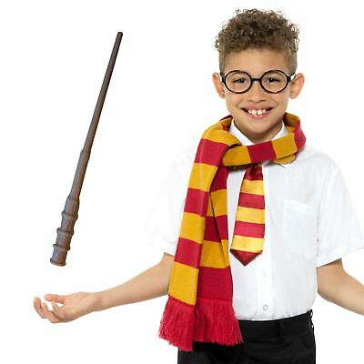 Girls Boys Plastic Magic Harry Wand Glasses Tie Scarf Fancy Dress Witch Wizard