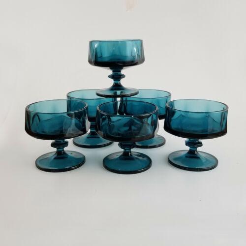 SET OF 6 Vintage INDIANA Nouveau Riviera Teal Blue Glasses Sherbet Dessert Dish