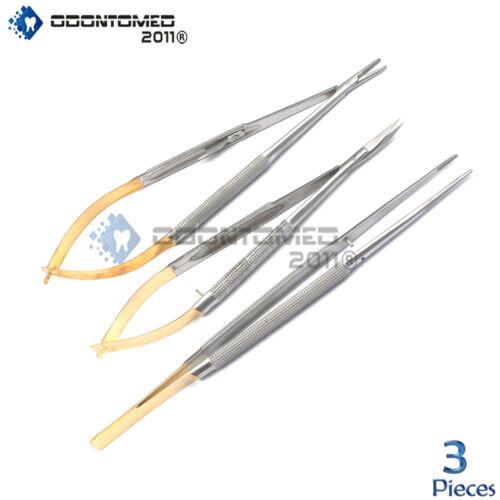 3 Castroviejo Micro Scissors Needle Holder TC Forceps Dental Eye Set Kit