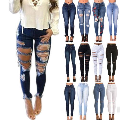 Women Ripped Slim Fit High Waist Denim Pants Jeans Distresse
