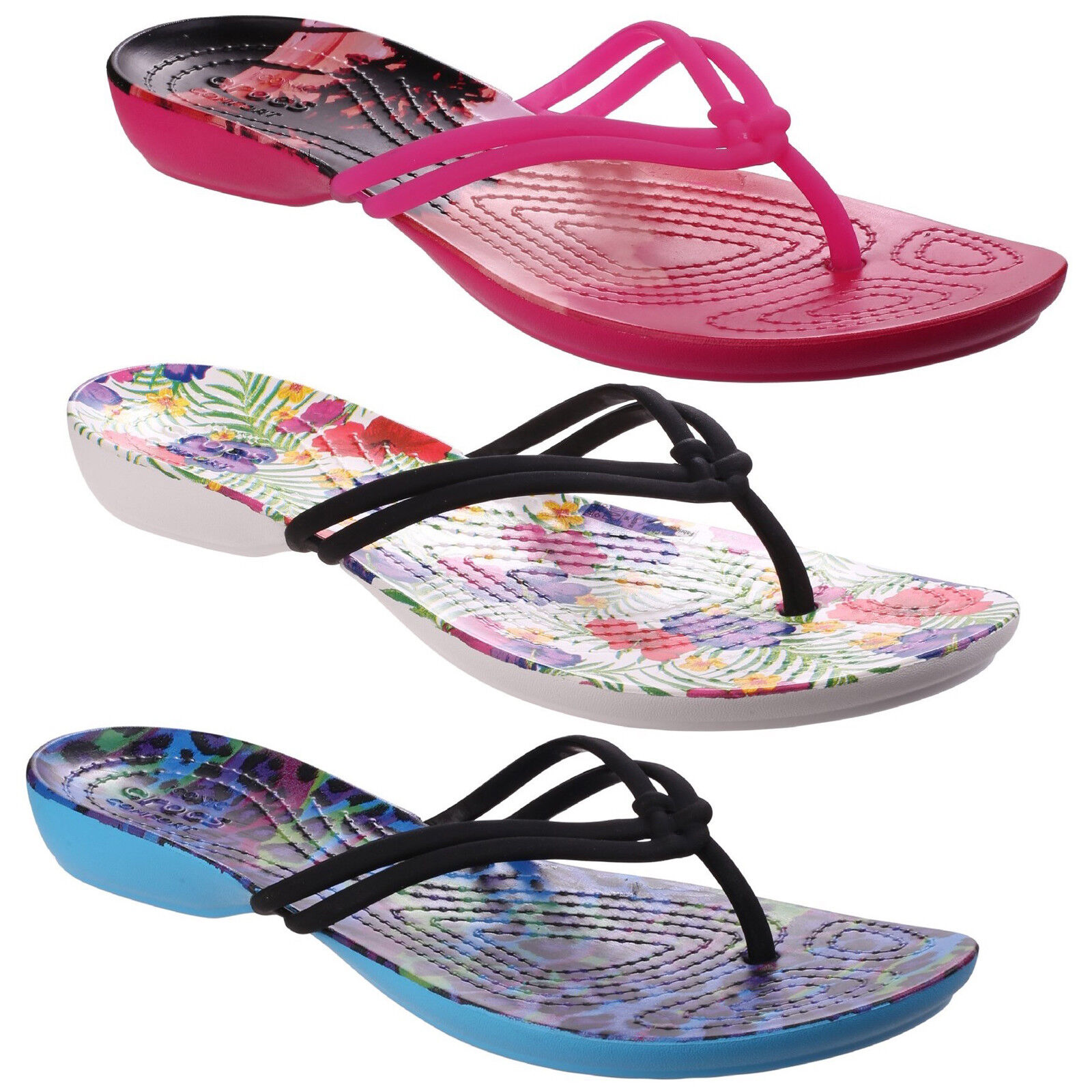 152bc4f92 Crocs Isabella Graphic Flip Flops Womens Lightweight Croslite Toe Post  Sandals