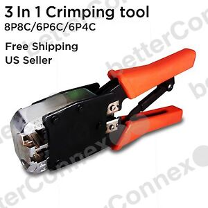 RJ45 Crimp Tool RJ11 Plug Network Cable Crimper Cat5e Cat6 Connector Stripper