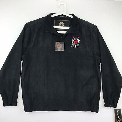 Weatherproof Brand Mens Size Large Micro Suede Jacket Black embroidery