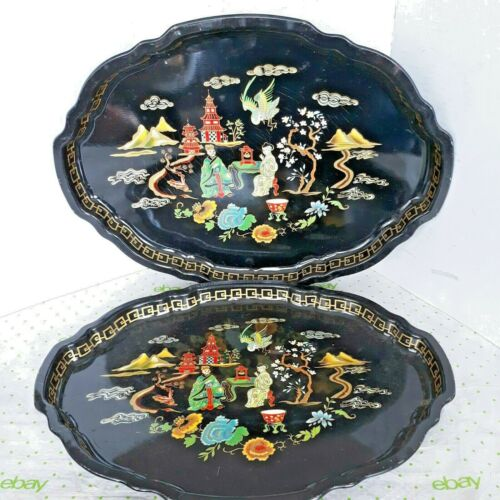 """2 Unbranded Trays with Chinese Couple Having Tea In A Garden 17.5"""" x 13"""""""