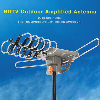 150 Miles Outdoor HDTV 1080P TV Antenna Amplified Motorized HD 36dB UHF VHF FM