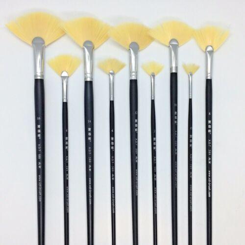 XDT#589 Fan Artist Paint Brush Art Panting Brushes 9pc Set Soft Nylon Watercolor