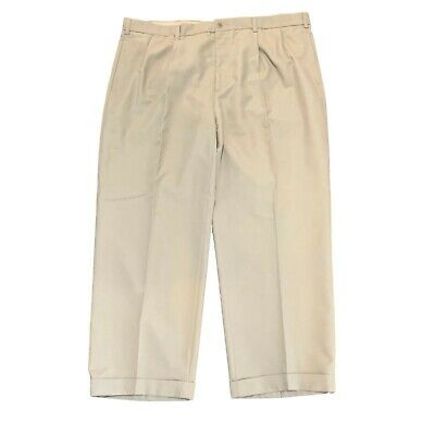 Nautica Mens Dress Pants Khaki Size 44W Cuffed Pleated Front Inseam 29""