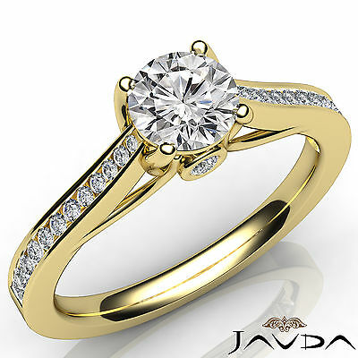 Channel Set Round Shape Diamond Engagement Ring GIA E VS2 18k Yellow Gold 0.8Ct