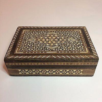 Vintage Handmade Brown & White Wood Jewelry Box With Maroon Felt Inside Handmade Felt Jewelry