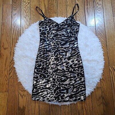 G By Guess Women's Zebra Print Sequin Dress Size Small -