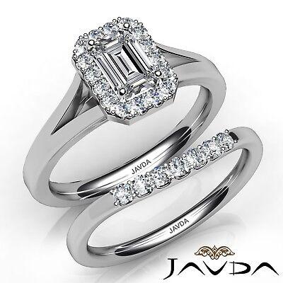 0.95ctw Classic Halo Bridal Set Pave Emerald Diamond Engagement Ring GIA H-VVS2
