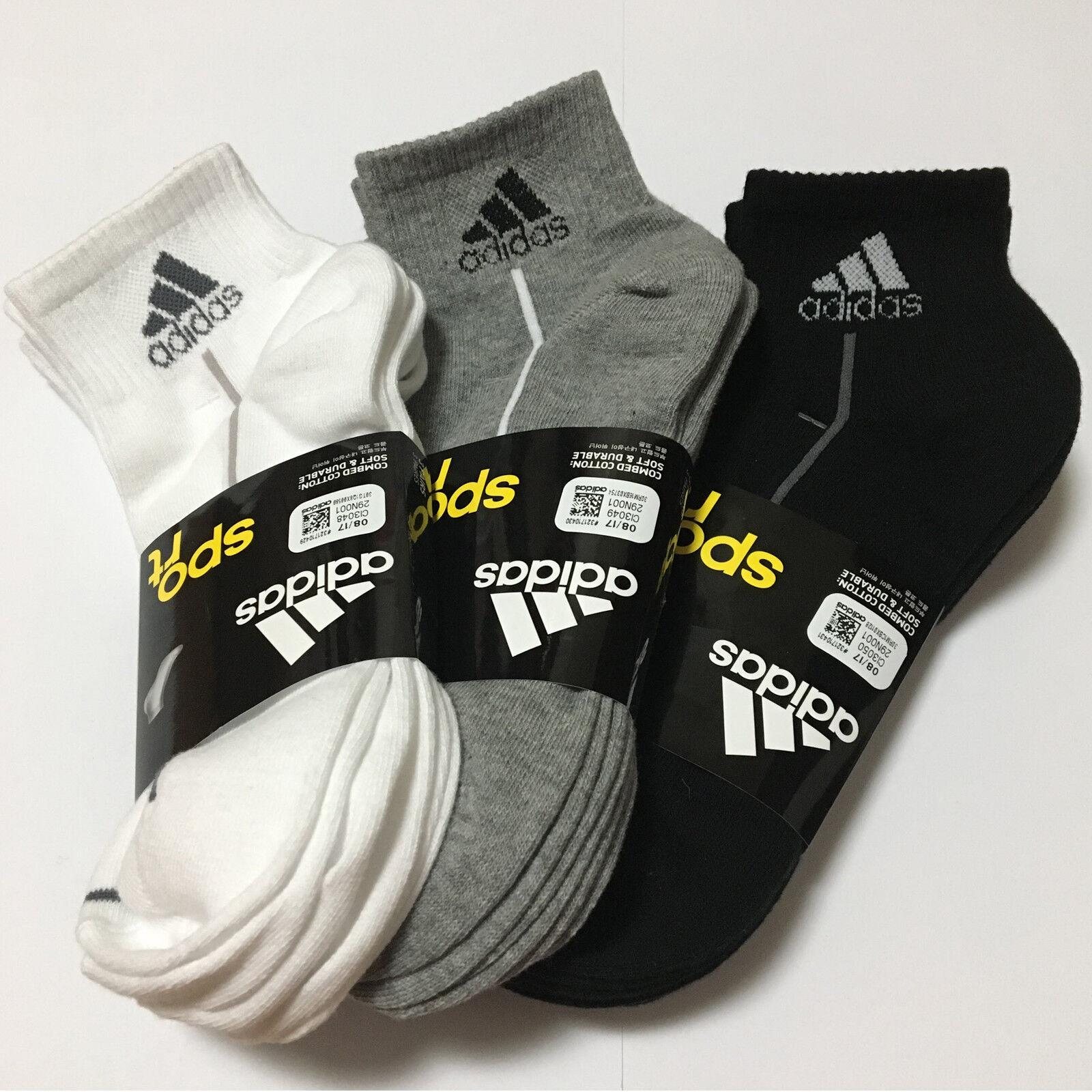 ADIDAS KOREA Men's Sport Casual Socks 3Pairs White Gray Bl