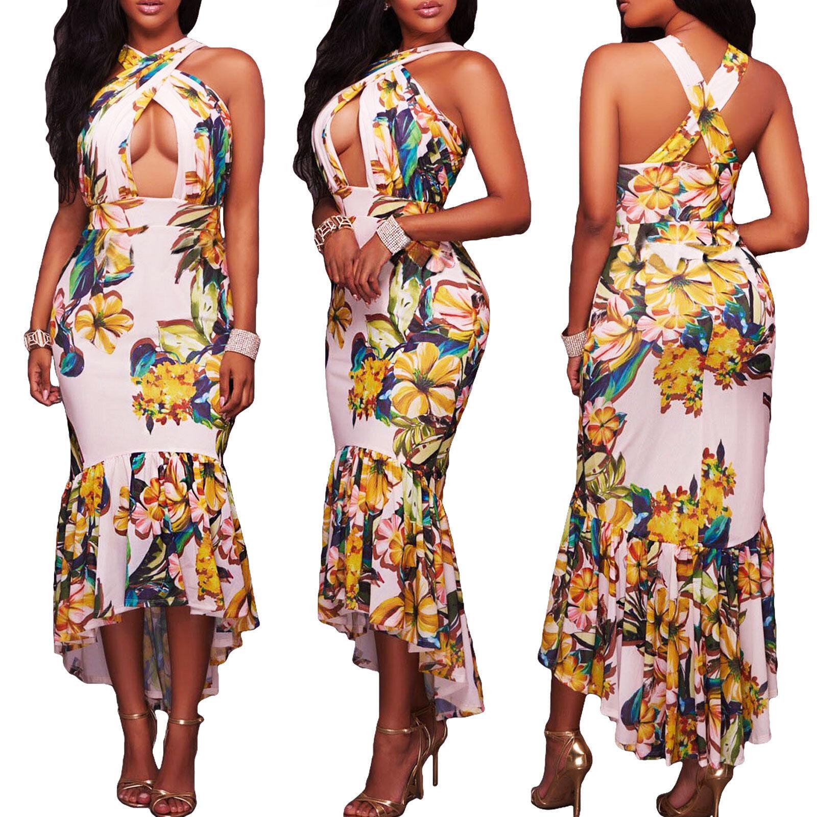 064d5de23aa4 Vestito donna lungo asimmetrico abito floreale elegante coda scollato