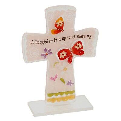 s Kreuz eine Tochter Ist A Special Segen' 15cm (Glasmalerei Kreuze)