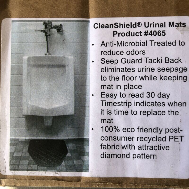 6-Pack CleanShield Antimicrobial Non-Slip 30-Day Disposable Urinal Mat Charcoal