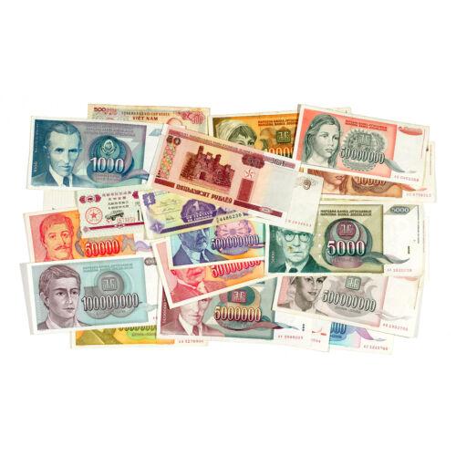 Lot of 100 well mixed world paper money circ.-Unc.