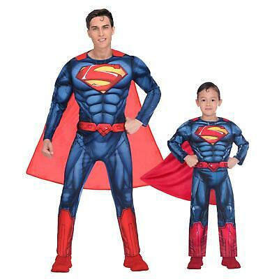 Kid Superheroes Costumes (Official Superman Muscle Chest Fancy Dress Superhero Costume Adult Mens)