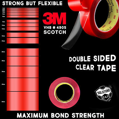 3M VHB 4905 Double Sided Mounting Tape Transparent Clear Long 10M / 33FT Length ()