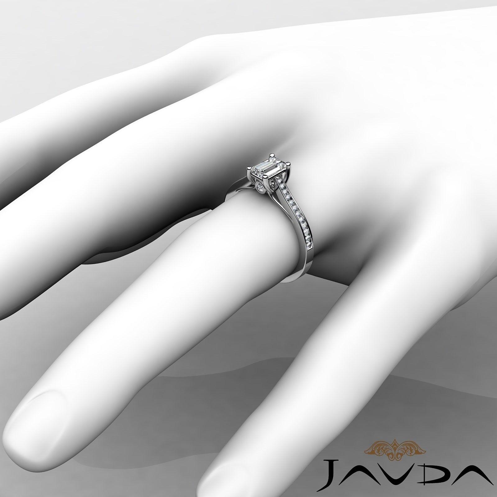 1.32ctw Channel Set Shank Emerald Diamond Engagement Ring GIA F-VVS2 White Gold 2