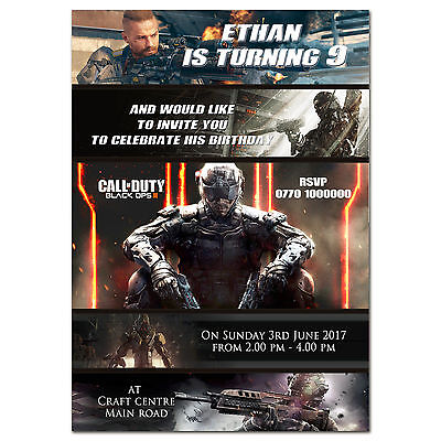 i78; Personalised birthday party invitations for any age ; Call of Duty  (Call Of Duty Birthday Party)
