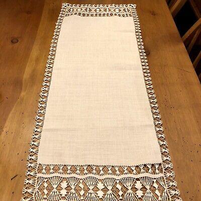 "Belgium Linen Table Runner 31.5"" X 12"" -ECRU Embroidery Lace"