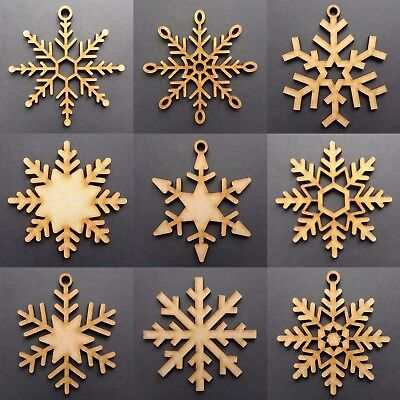 Wooden Christmas Snowflakes Tree Decorations Craft Hanging Bauble Blank Shapes ()
