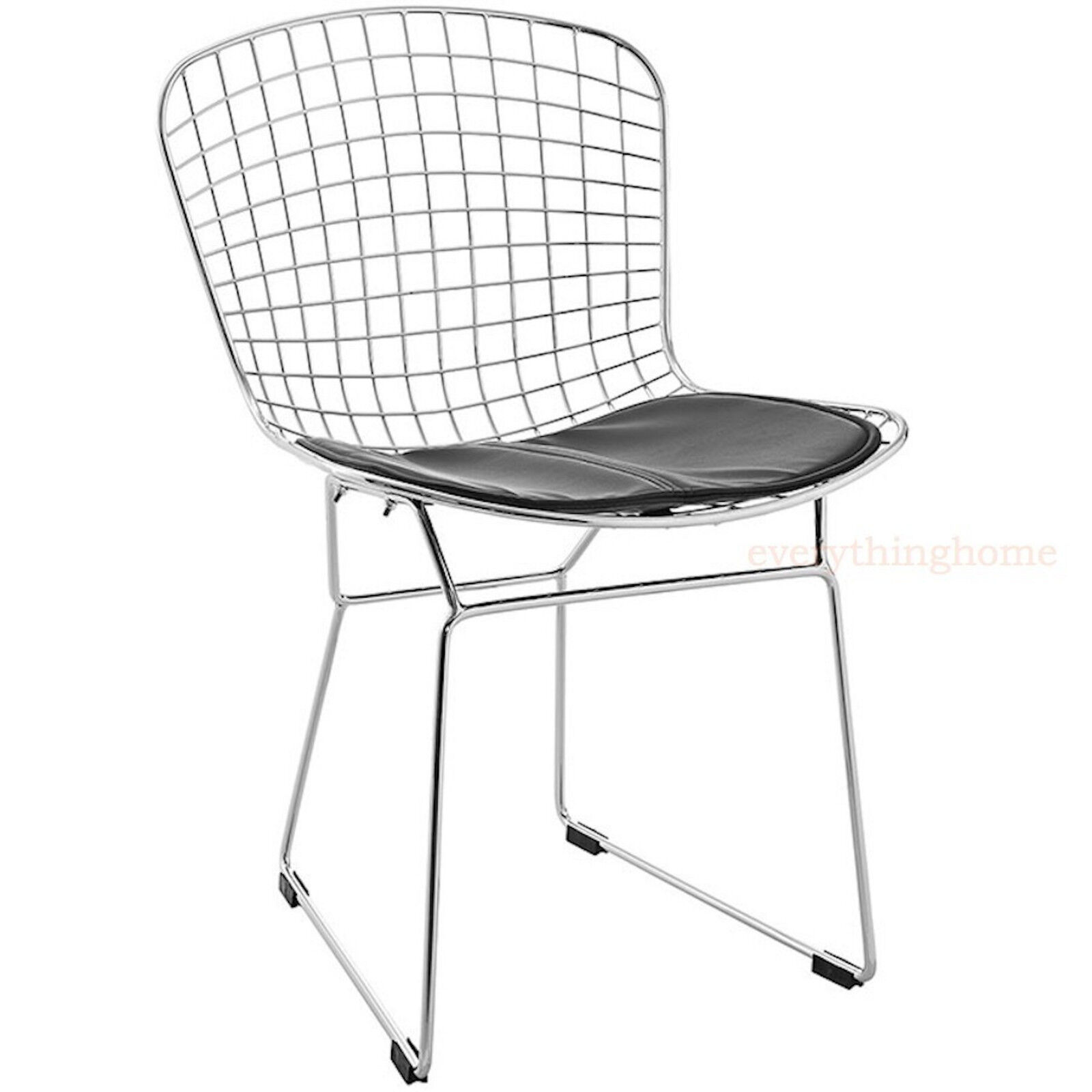 bertoia style chair dining side steel wire chrome mesh black pad 331 lb wt rate