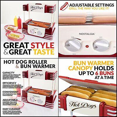 Nostalgia Hot Dog Warmer Bun Capacity Rollers Adjustable Heat Machine Cooker New