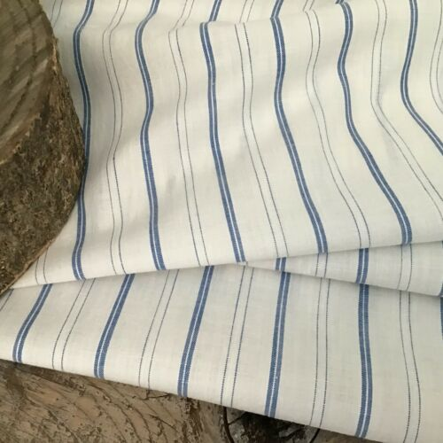 Vintage French cotton blue stripe shirting dress fabric dolls sewing