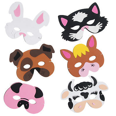 Kinder Freundlich Kostüme (Kinder Freundlich Barnyard Nutztier Schaum Maske Kostüm Party Packung)