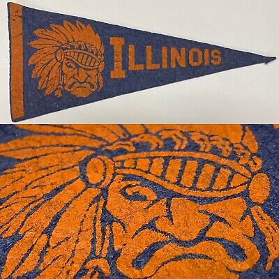 Vintage 50's Illinois Fighting Illini University Big Ten 4x8.5 Mini Pennant Illinois Fighting Illini Pennant