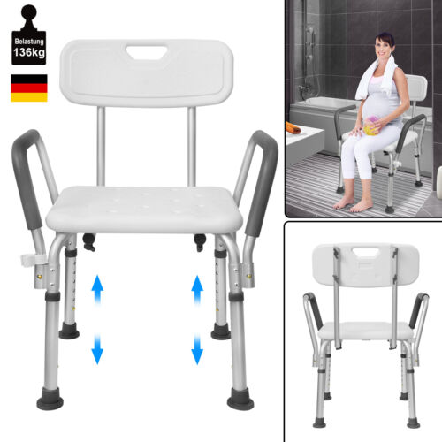 Badstuhl Duschstuhl Duschhocker Badhocker Dusch 136kg Mit Rückenlehne Armlehne