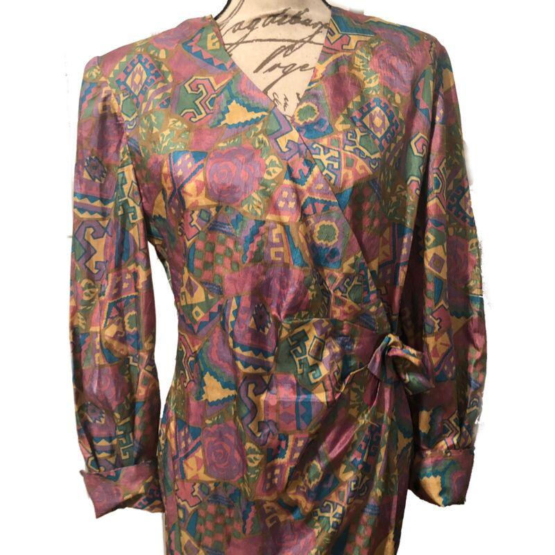 Vintage 80s Wrap Dress Geometric Multicolor Long Maxi Size M Medium Crinkle