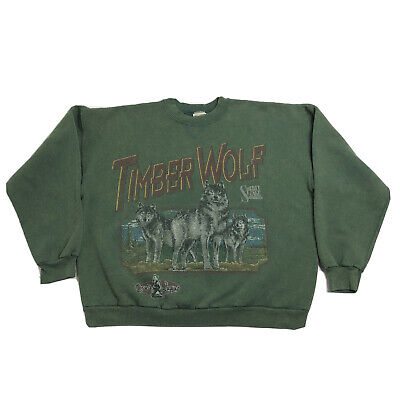 Vintage Spirit Lake Outfitters Sweatshirt Crewneck Timber Wolves Sz XL USA VTG