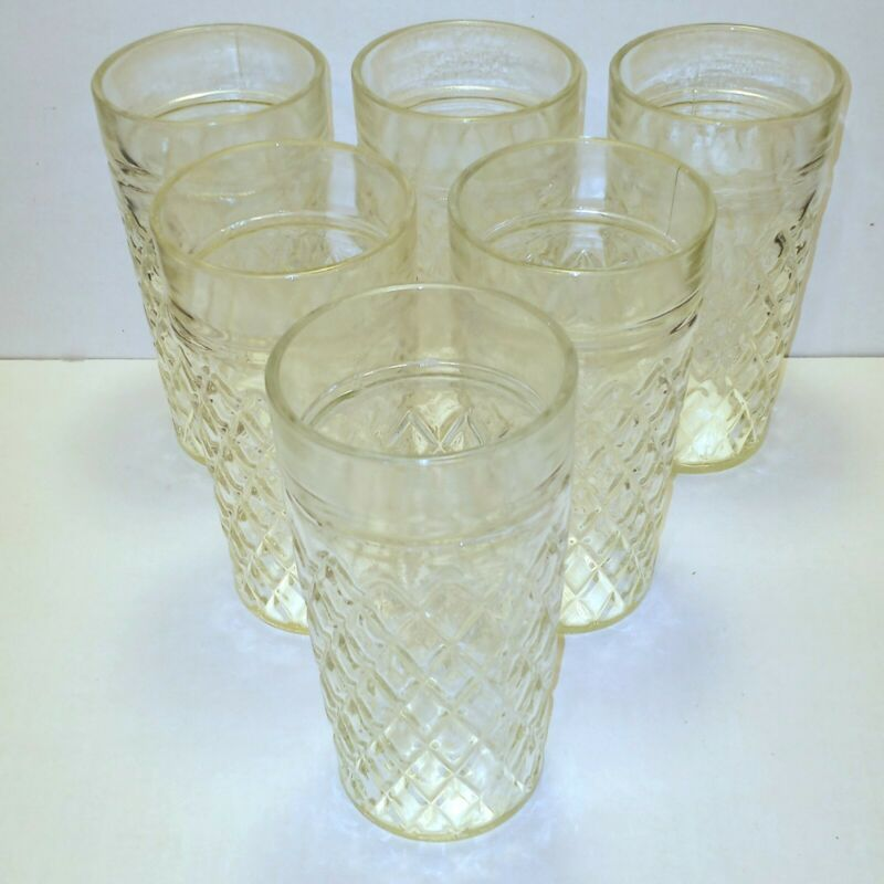 "Vintage Clear Glass Tumblers Drinking Glasses Diamond Pattern 6"" Tall Set of 6"