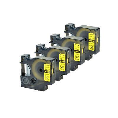 4pk Black On Yellow 18054 For Dymo Rhino 5200 Heat Shrink Tube Label Tape 9mm